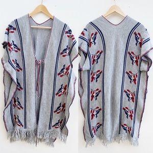 BOHO Knit Gray Fringe Poncho